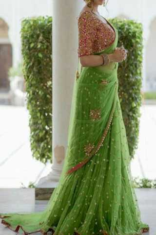 Magical Green Color Net Embroidered Saree  30""