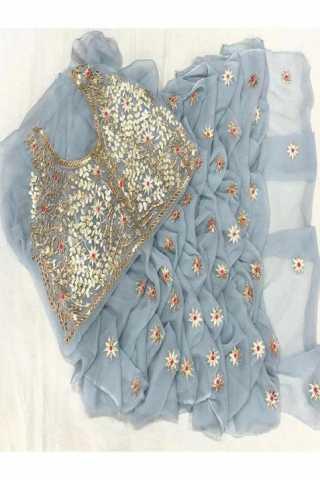 Unique Grey Color Georgette Fabric Embroidered saree