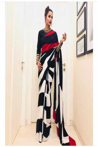 "Hina Khan White Rangoli Satin Saree - HINAWHTBLKm  30"""