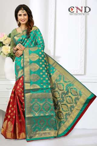Charming Sea Green and Red Designer Jacquard Saree - JQRDCGRNRD  30""