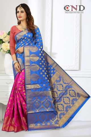 "Dazzling Light Blue and Pink Designer Jacquard Saree - JQRDLBLPNK  30"""