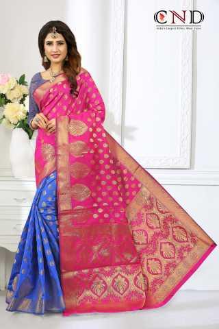 """Beautiful Pink and Blue Designer Jacquard Saree - JQRDPNBLU  30"""""""