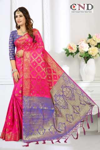 """Elegant Pink and Blue Designer Jacquard Saree - JQRDPNKBLSR  30"""""""