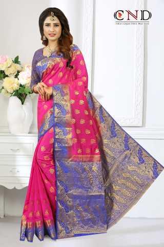"Adorable Pink and Blue Designer Jacquard Saree - JQRDPNKBL  30"""