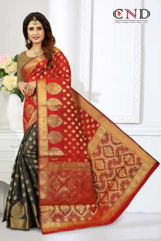 Graceful Red and Black Designer Jacquard Saree - JQRDRDBLK  30""