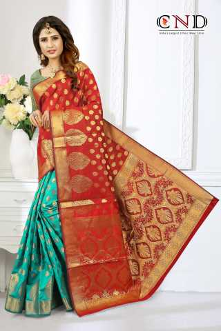 Charming Red and Sea Green Designer Jacquard Saree - JQRDRDCGRN  30""