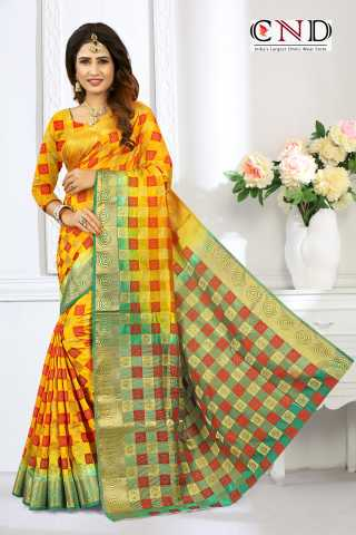 Elegant Yellow and Green Designer Jacquard Saree - JQRDYLWGRN  30""