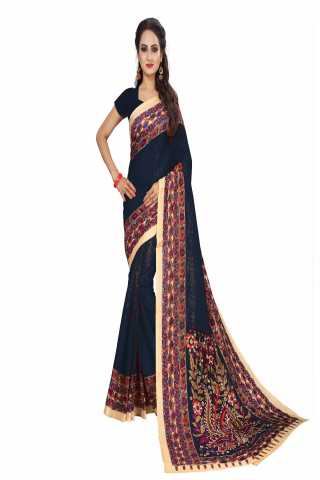 "Magnificant Black Kalamkari Bhagalpuri Soft Silk Saree - KalamBlack  30"""