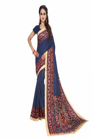 "Epitome Blue Kalamkari Bhagalpuri Soft Silk Saree - KalamBlue  30"""