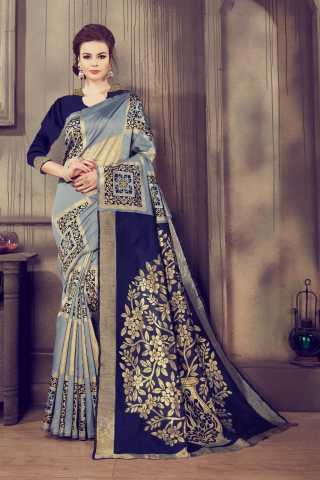 Innovative Grey-Blue Kalamkari Cotton Silk Saree - KalamCSGRYBL  30""
