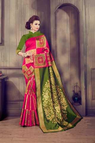 "Dynammic Pink-Green Kalamkari Cotton Silk Saree - KalamCSPNKGRN  30"""