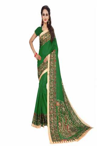 "Magnificant Green Kalamkari Bhagalpuri Soft Silk Saree - KalamGreen  30"""
