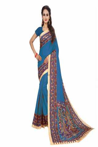 "Evergreen Light Blue Kalamkari Bhagalpuri Soft Silk Saree - KalamLBlue  30"""