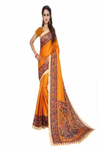 Pretty Orange Kalamkari Bhagalpuri Soft Silk Saree - KalamOrange  30""