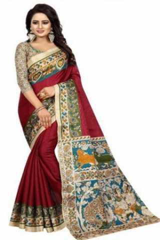 "Blooming Maroon Kalamkari Heavy Bhagalpuri Soft Khadi Silk Saree - KalamkariMaroon  30"""