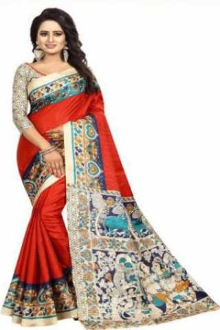 Dreamy Red  Kalamkari Heavy Bhagalpuri Soft Khadi Silk Saree - KalamkariRed  30""