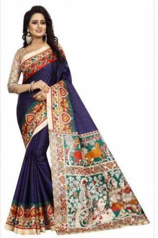 """Dynammic Blue Color Kalamkari Heavy Bhagalpuri Soft Khadi Silk Saree - Kalamkariblue  30"""""""