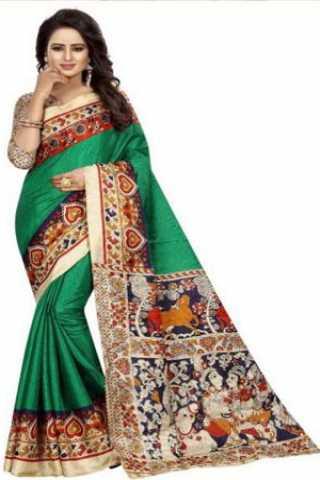 "Eye Catching Green Kalamkari Heavy Bhagalpuri Soft Khadi Silk Saree - Kalamkarigreen  30"""