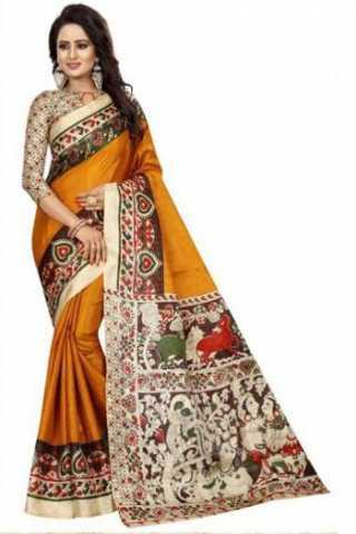 """Glammrous Orange Kalamkari Heavy Bhagalpuri Soft Khadi Silk Saree - Kalamkariorange  30"""""""