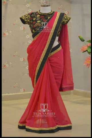 Designer Marble Dyed Lace Border Saree With Golden Diamond Work - MD516  30""
