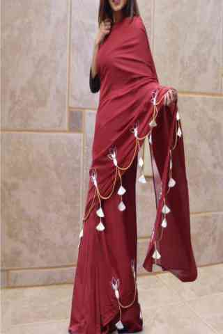 Remarkable Maroon Color Plain Silk Saree