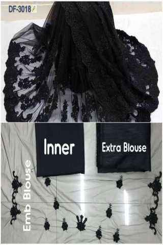"Classy Black Mono Net With Heavy Emb. Pallu Skirt Saree  - NXMONOBLK  30"""