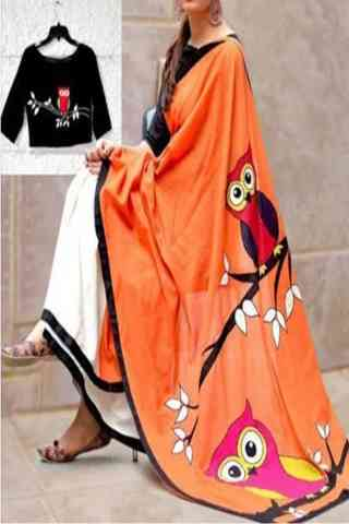 Admirable Orange N Black Color Owl Printed Silk Saree With blouse