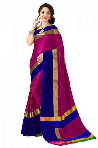 Modern Pink Color Poly cotton Fabric Striped Pattern Saree - PC11