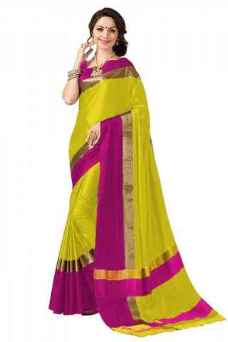 Exclusive Yellow Color Poly cotton Fabric Striped Pattern Saree_SB_PC12