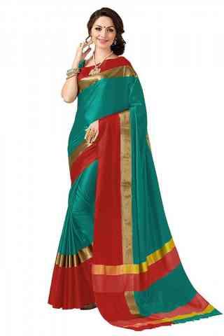 Beautiful Green Color Poly cotton Fabric Striped Pattern Saree_SB_PC1