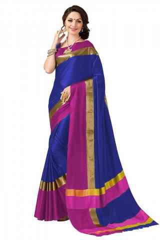 Pretty Blue Color Poly cotton Fabric Striped Pattern Saree_SB_PC2