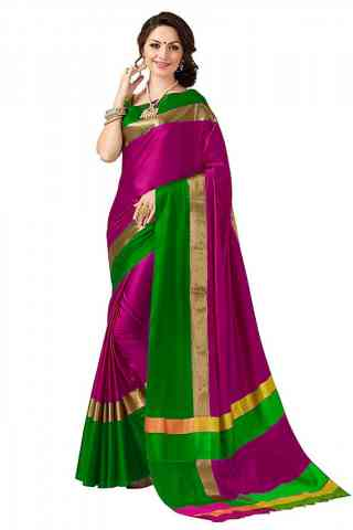 Ethnic Pink Color Poly cotton Fabric Striped Pattern Saree_SB_PC3