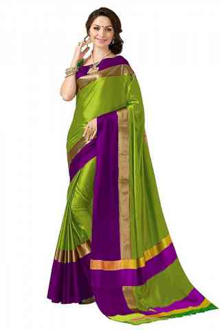 Mind Blowing Green Color Poly cotton Fabric Striped Pattern Saree_SB_PC5