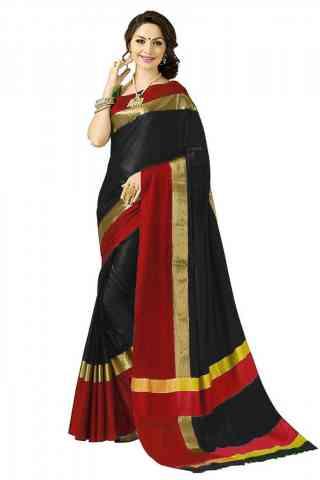Attractive Black Color Poly cotton Fabric Striped Pattern Saree_SB_PC6