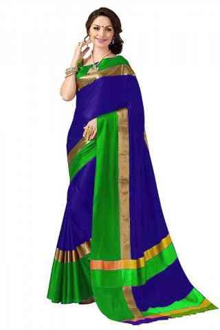Fabulous Blue Color Poly cotton Fabric Striped Pattern Saree_SB_PC7