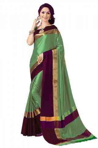 Royal Multi Color Poly cotton Fabric Striped Pattern Saree_SB_PC8