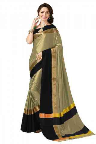 Elegant Beige Color Poly cotton Fabric Striped Pattern Saree_SB_PC9