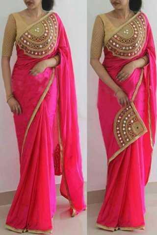 Modern Pink Paper Silk Fabric Hand work Designer Saree