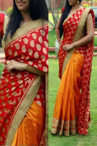 Red - Orange Georgette Fabric Designer Saree  30""