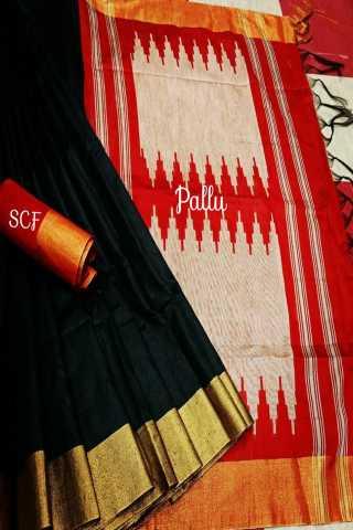 "Divine Black Colored Raw Silk Fabric With Jacquard Pallu Saree- RutrangBLKRD  30"""