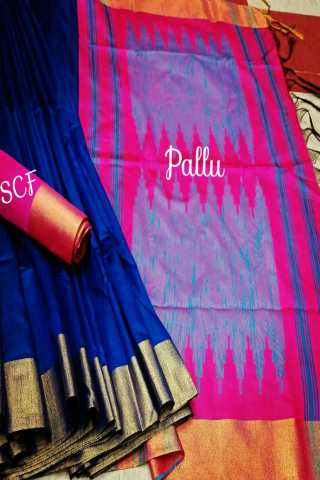 Pleasant Blue Colored Raw Silk Fabric With Jacquard Pallu Saree- RutrangBLPnk  30""