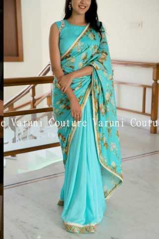 Unique Light Blue Color Chinon Fabric Saree With Banglory Blouse - SJR402  30""