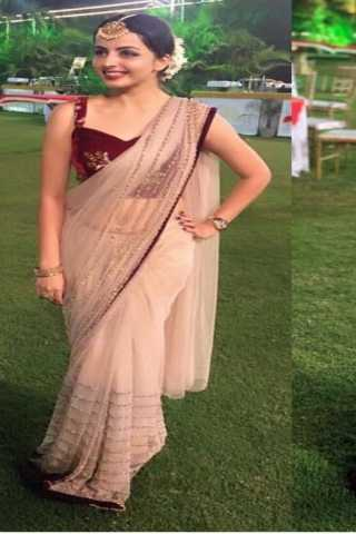 "Beautiful Cream Color Nylon Net Pallu Saree With blouse - SKT3232  30"""