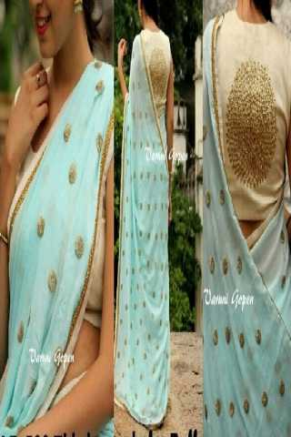 """Traditional Blue Color Georgette Fabric Saree With Full Sequence Butta - SLF502Bl  30"""""""