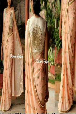 Classy Georgette Fabric Saree With Full Sequence Butta - SLF502Crm  30""