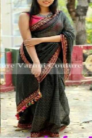 Adorning Black Color Chanderi Checks Cotton Saree With Embroidered Blouse - SLF512  30""
