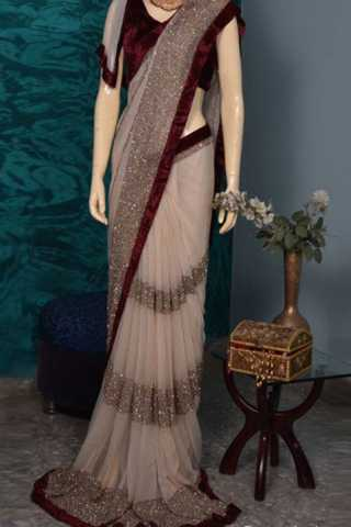 Classic Velvet lace border Georgette fabric saree with sequence work  30""