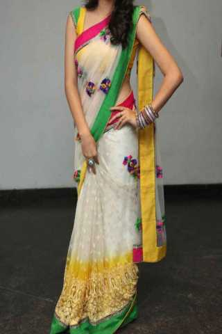 Exclusive White Net Chain Work Butta Saree  30""