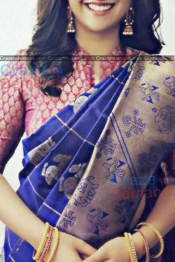 Excellent Blue Colored Designer Soft Silk Navratri Special Saree - CD274  30""