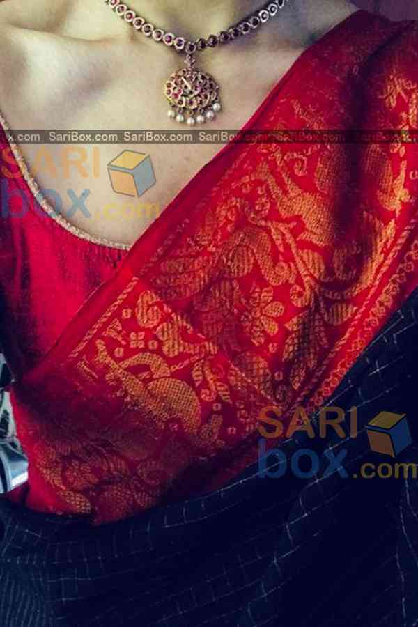 Excellent Broad Red Border Designer Soft Silk Navratri Special Saree - CD279  30""